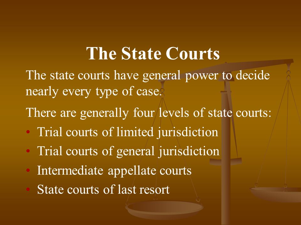 The State Courts The state courts have general power to decide nearly every type of case.