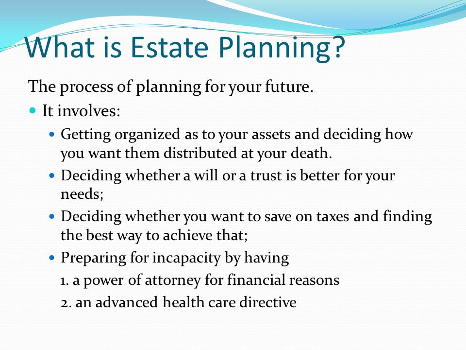 What is Estate Planning. The process of planning for your future.