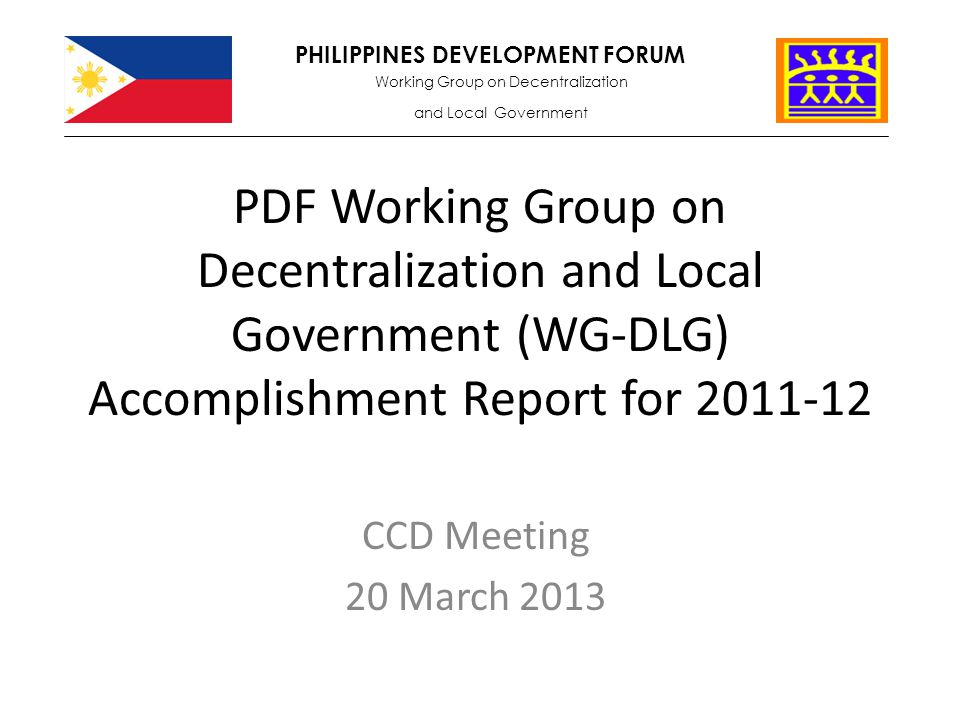 Pdf Working Group On Decentralization And Local Government (Wg-Dlg