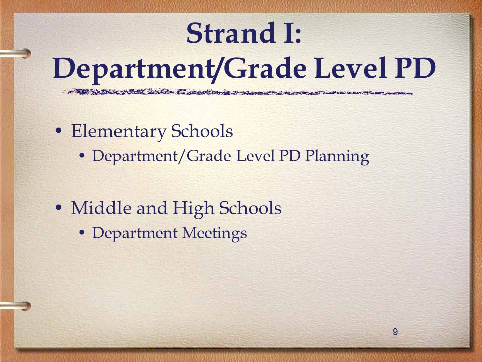 99 Elementary Schools Department/Grade Level PD Planning Middle and High Schools Department Meetings Strand I: Department/Grade Level PD