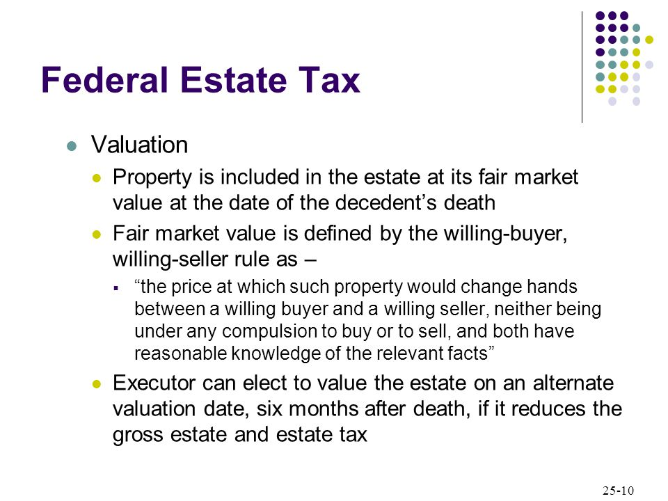 25-10 Federal Estate Tax Valuation Property is included in the estate at its fair market value at the date of the decedent's death Fair market value is defined by the willing-buyer, willing-seller rule as –  the price at which such property would change hands between a willing buyer and a willing seller, neither being under any compulsion to buy or to sell, and both have reasonable knowledge of the relevant facts Executor can elect to value the estate on an alternate valuation date, six months after death, if it reduces the gross estate and estate tax