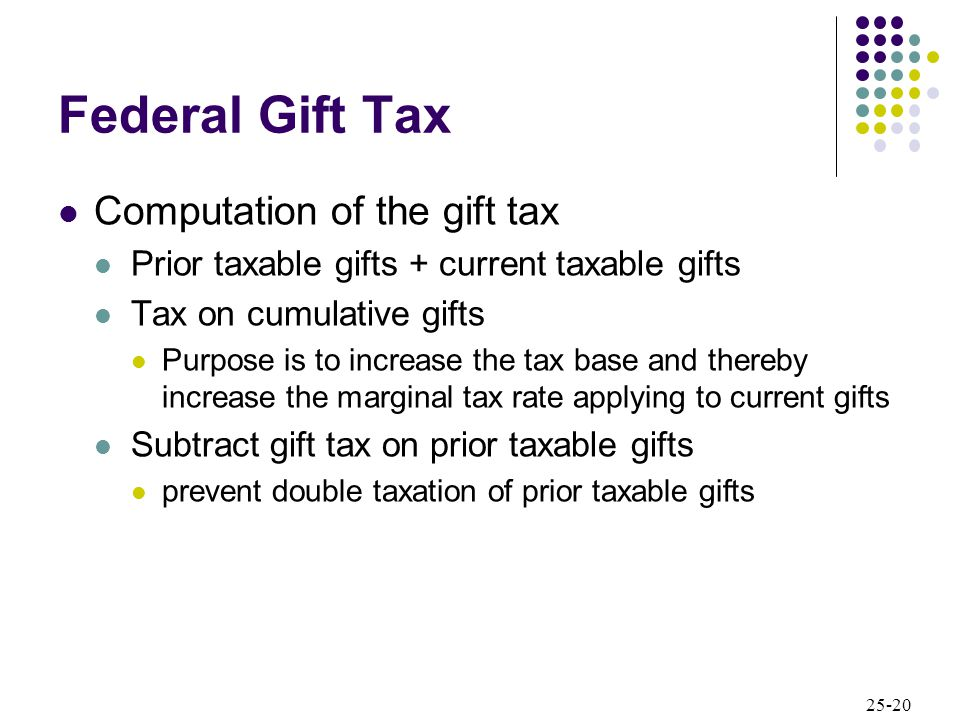 25-20 Federal Gift Tax Computation of the gift tax Prior taxable gifts + current taxable gifts Tax on cumulative gifts Purpose is to increase the tax base and thereby increase the marginal tax rate applying to current gifts Subtract gift tax on prior taxable gifts prevent double taxation of prior taxable gifts