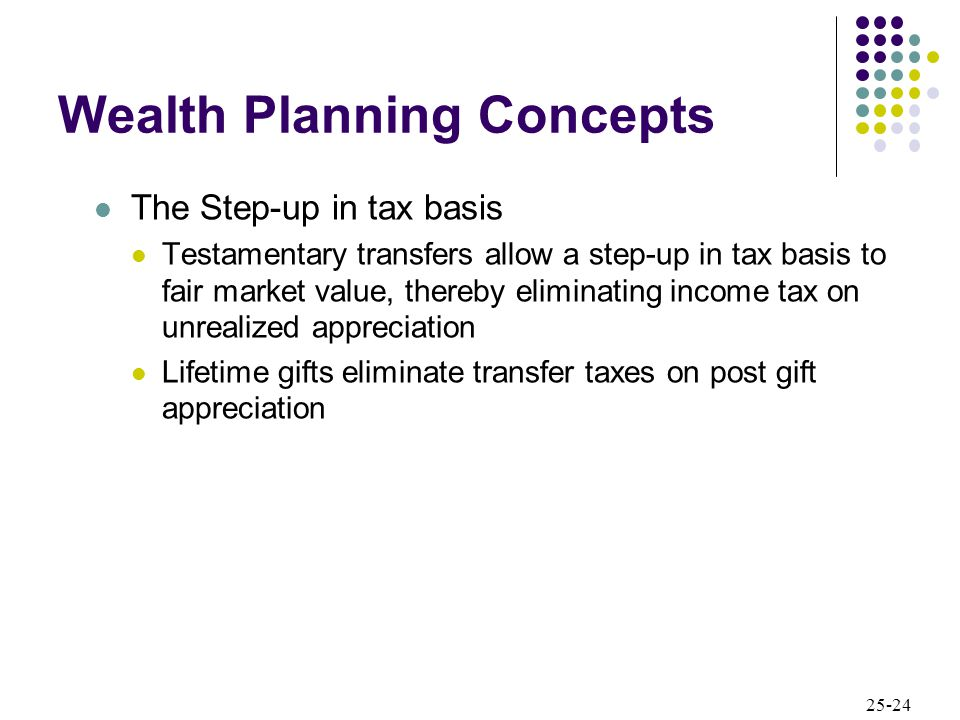 25-24 Wealth Planning Concepts The Step-up in tax basis Testamentary transfers allow a step-up in tax basis to fair market value, thereby eliminating income tax on unrealized appreciation Lifetime gifts eliminate transfer taxes on post gift appreciation
