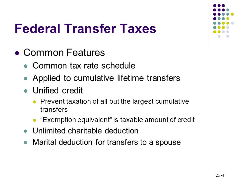 25-4 Federal Transfer Taxes Common Features Common tax rate schedule Applied to cumulative lifetime transfers Unified credit Prevent taxation of all but the largest cumulative transfers Exemption equivalent is taxable amount of credit Unlimited charitable deduction Marital deduction for transfers to a spouse