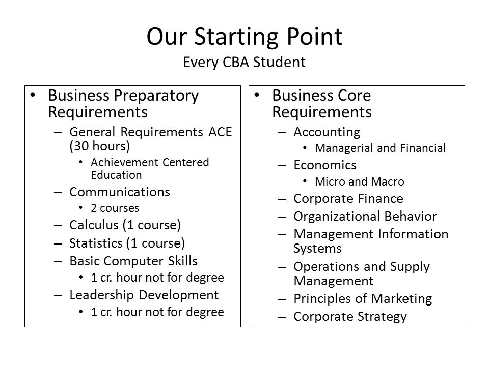 Our Starting Point Every CBA Student Business Preparatory Requirements – General Requirements ACE (30 hours) Achievement Centered Education – Communications 2 courses – Calculus (1 course) – Statistics (1 course) – Basic Computer Skills 1 cr.