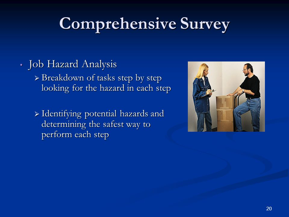 20 Comprehensive Survey Job Hazard Analysis  Breakdown of tasks step by step looking for the hazard in each step  Identifying potential hazards and determining the safest way to perform each step