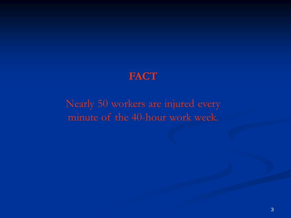 3 FAC T: Nearly 50 workers are injured every minute of the 40- hour work week.