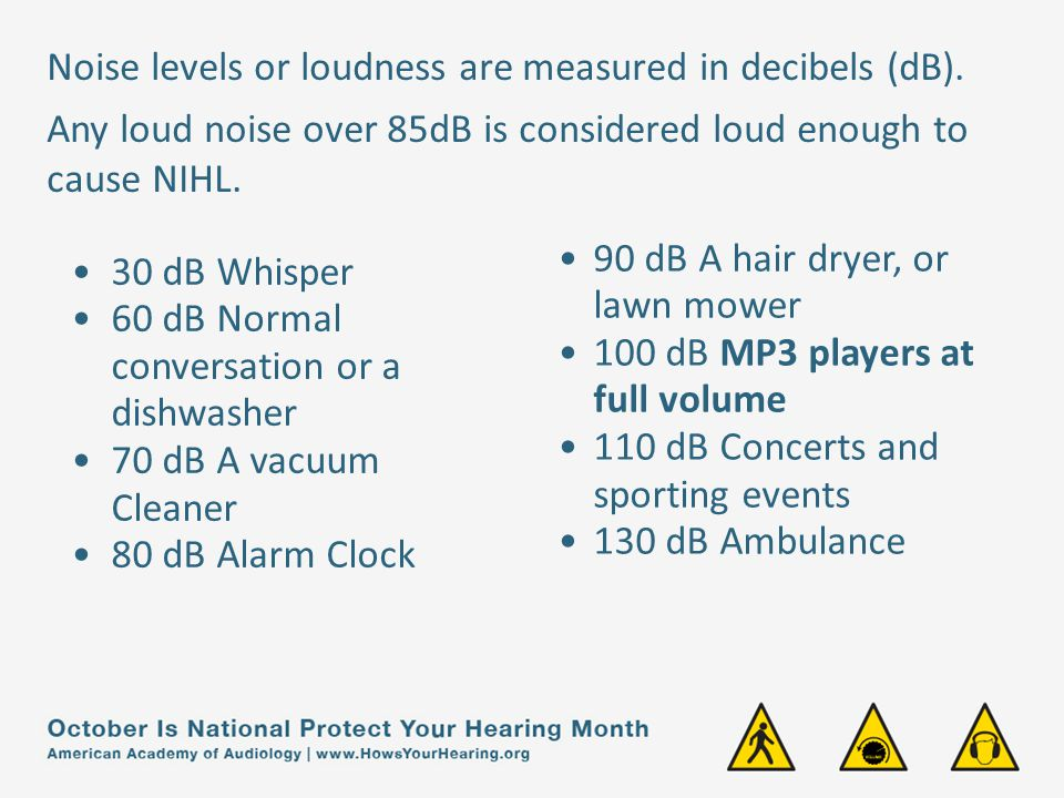 30 dB Whisper 60 dB Normal conversation or a dishwasher 70 dB A vacuum Cleaner 80 dB Alarm Clock 90 dB A hair dryer, or lawn mower 100 dB MP3 players at full volume 110 dB Concerts and sporting events 130 dB Ambulance Noise levels or loudness are measured in decibels (dB).