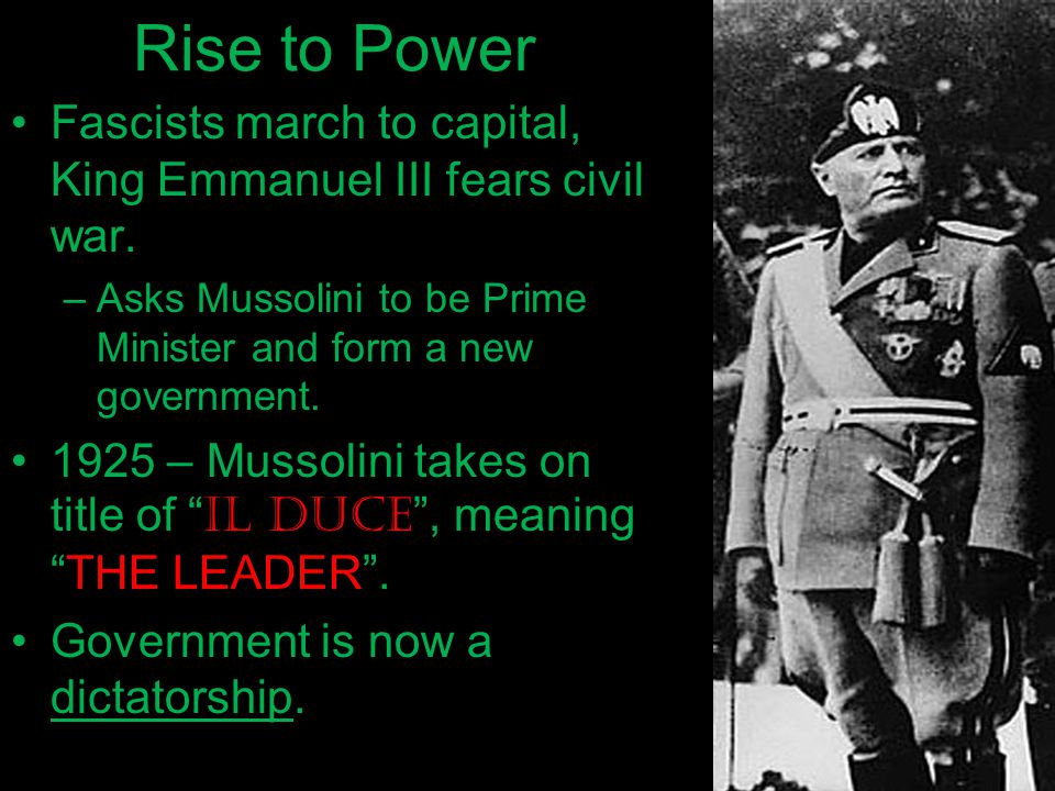 The Rise of Fascism – In Italy. ?? WHAT YOU SHOULD KNOW ?? 1 ...