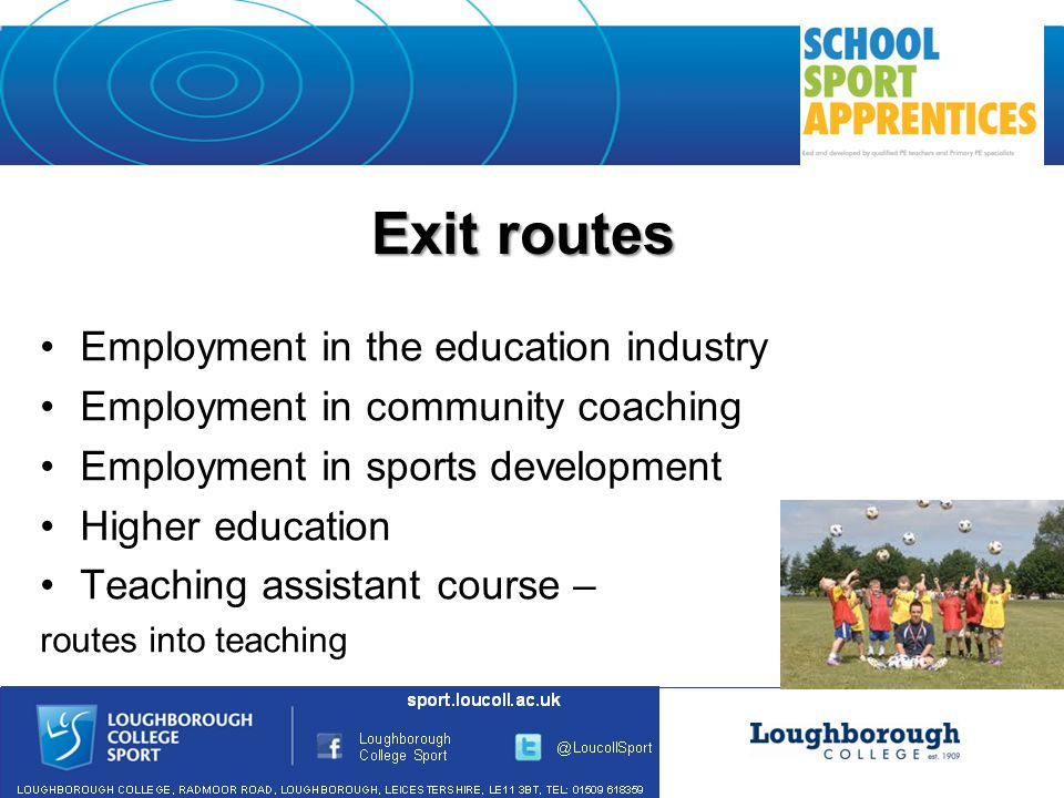 Exit routes Employment in the education industry Employment in community coaching Employment in sports development Higher education Teaching assistant course – routes into teaching