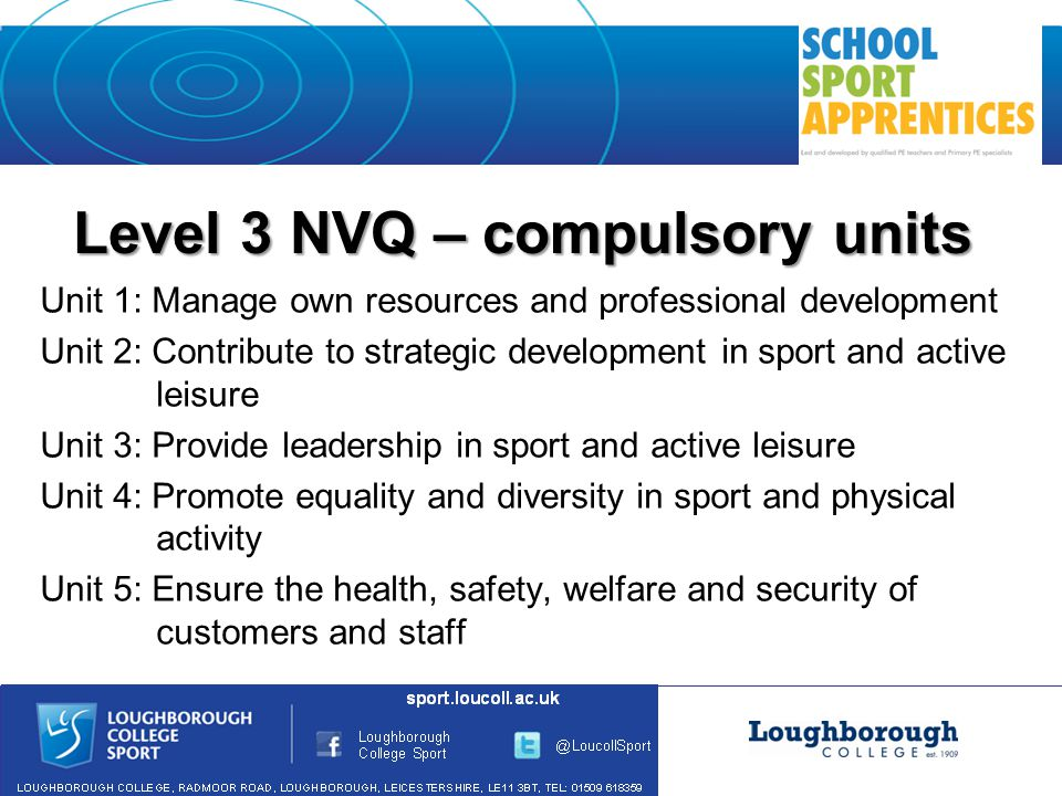 Level 3 NVQ – compulsory units Unit 1: Manage own resources and professional development Unit 2: Contribute to strategic development in sport and active leisure Unit 3: Provide leadership in sport and active leisure Unit 4: Promote equality and diversity in sport and physical activity Unit 5: Ensure the health, safety, welfare and security of customers and staff