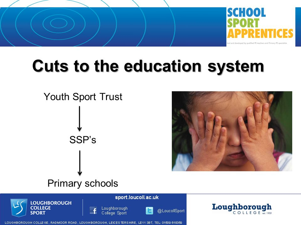 Cuts to the education system Youth Sport Trust SSP's Primary schools