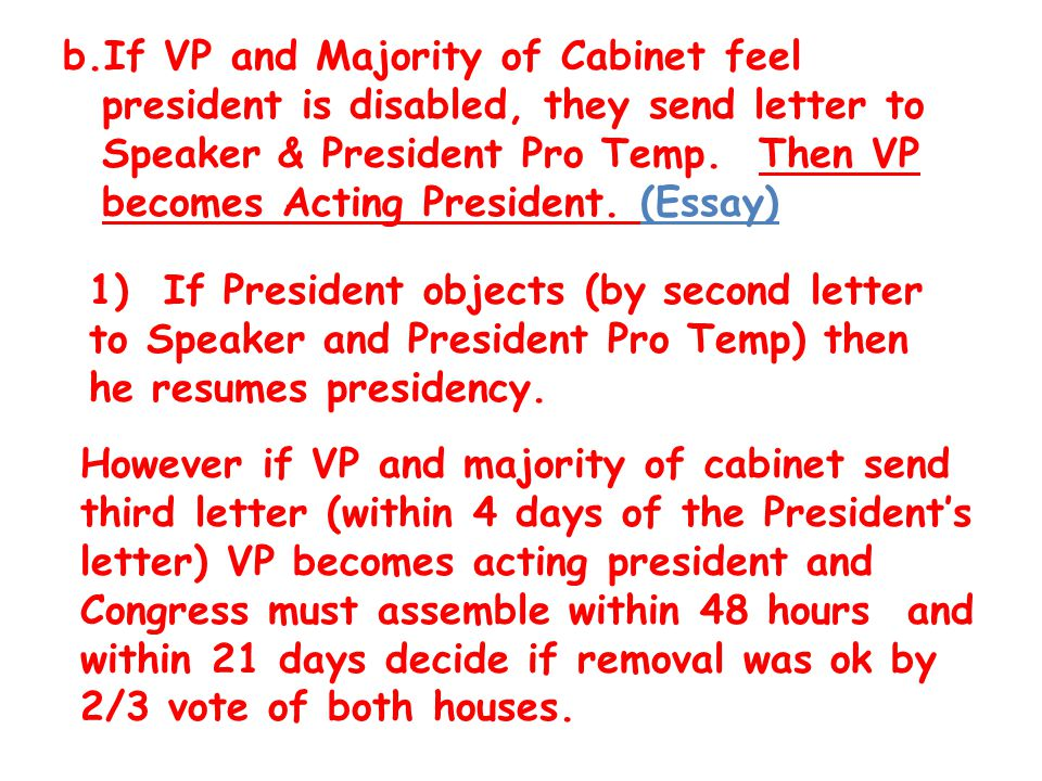 article ii the executive branch qualifications qualifications  if vp and majority of cabinet feel president is disabled they send letter