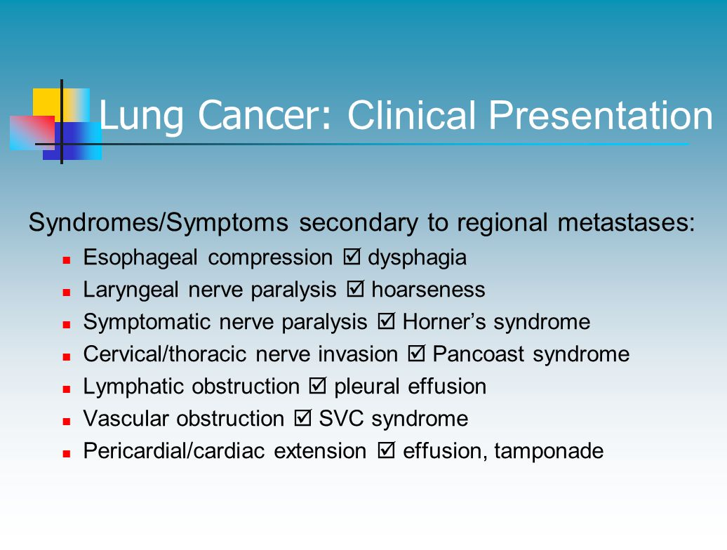 Lung Cancer: Clinical Presentation Syndromes/Symptoms secondary to regional metastases: Esophageal compression  dysphagia Laryngeal nerve paralysis  hoarseness Symptomatic nerve paralysis  Horner's syndrome Cervical/thoracic nerve invasion  Pancoast syndrome Lymphatic obstruction  pleural effusion Vascular obstruction  SVC syndrome Pericardial/cardiac extension  effusion, tamponade