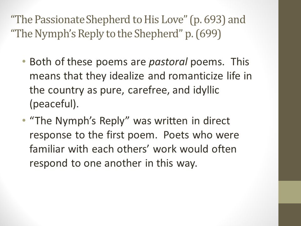 The passionate shepherd to his love essay