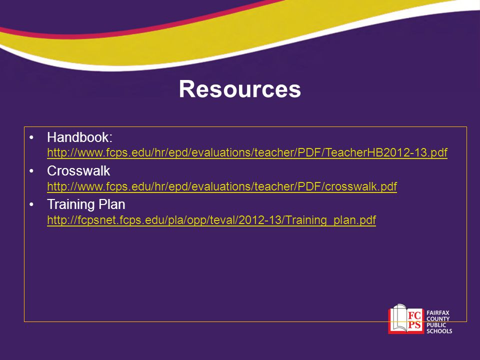 Resources Handbook:     Crosswalk     Training Plan