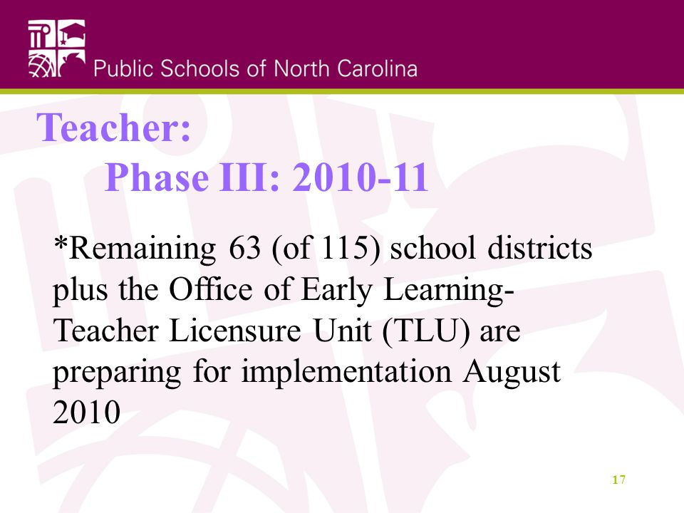 17 Teacher: Phase III: *Remaining 63 (of 115) school districts plus the Office of Early Learning- Teacher Licensure Unit (TLU) are preparing for implementation August 2010