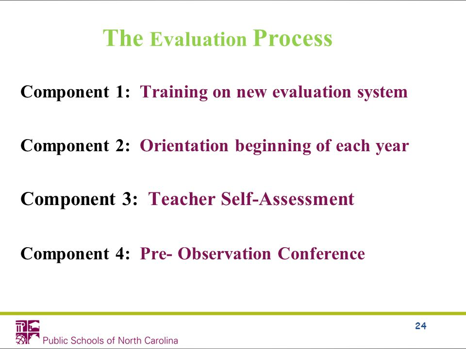 The Evaluation Process Component 1: Training on new evaluation system Component 2: Orientation beginning of each year Component 3: Teacher Self-Assessment Component 4: Pre- Observation Conference 24