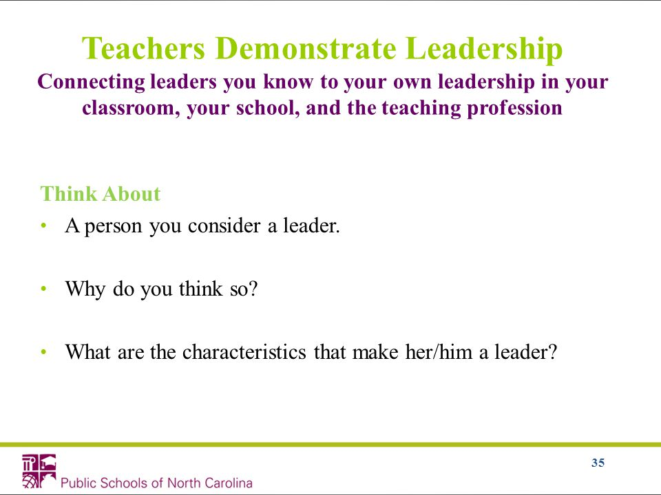 35 Teachers Demonstrate Leadership Connecting leaders you know to your own leadership in your classroom, your school, and the teaching profession Think About A person you consider a leader.