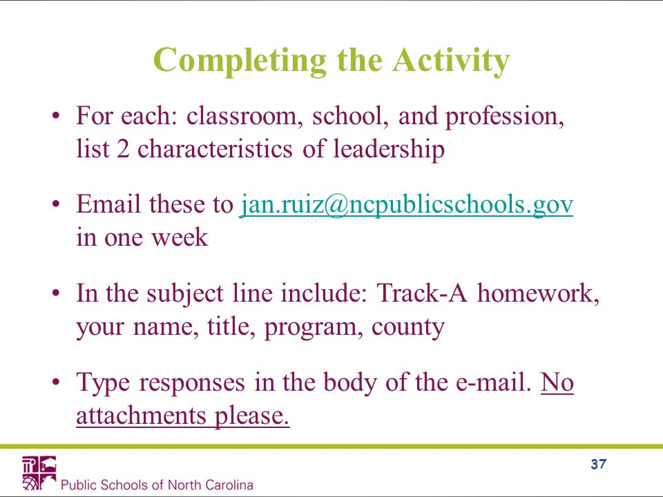 For each: classroom, school, and profession, list 2 characteristics of leadership  these to in one In the subject line include: Track-A homework, your name, title, program, county Type responses in the body of the  .