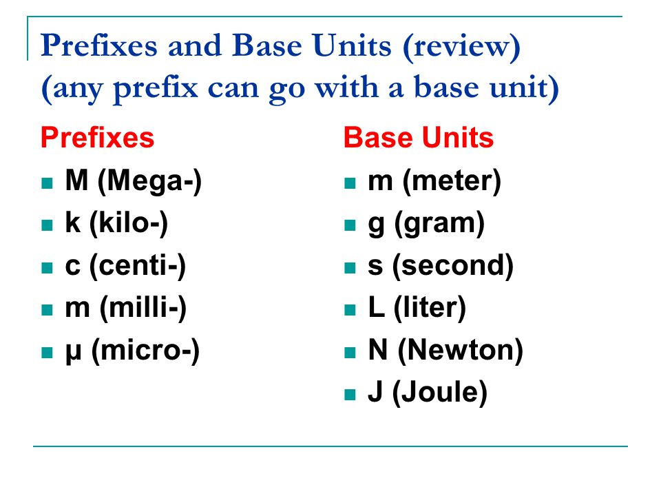 Prefixes and Base Units (review) (any prefix can go with a base unit) Prefixes M (Mega-) k (kilo-) c (centi-) m (milli-) μ (micro-) Base Units m (meter) g (gram) s (second) L (liter) N (Newton) J (Joule)