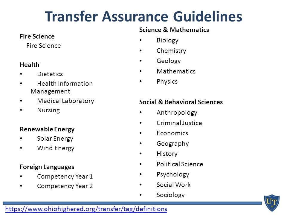 Transfer Assurance Guidelines Fire Science Health Dietetics Health Information Management Medical Laboratory Nursing Renewable Energy Solar Energy Wind Energy Foreign Languages Competency Year 1 Competency Year 2 Science & Mathematics Biology Chemistry Geology Mathematics Physics Social & Behavioral Sciences Anthropology Criminal Justice Economics Geography History Political Science Psychology Social Work Sociology