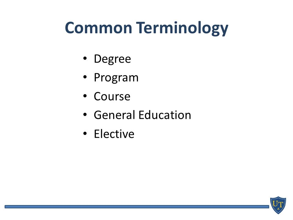 Common Terminology Degree Program Course General Education Elective