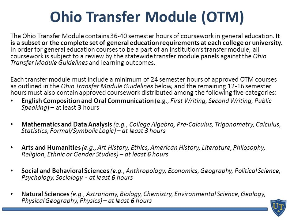 Ohio Transfer Module (OTM) The Ohio Transfer Module contains semester hours of coursework in general education.