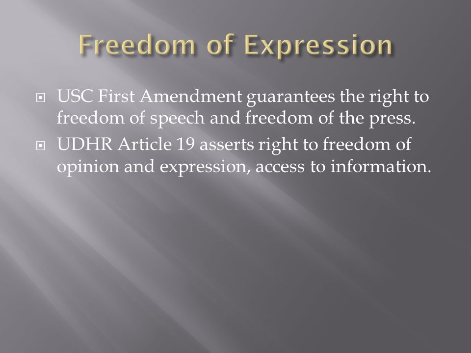 USC First Amendment guarantees the right to freedom of speech and freedom of the press.