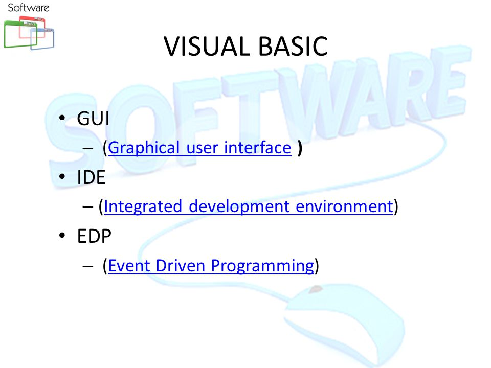 Exploring MS Visual Basic 6Copyright 1999 Prentice-Hall, Inc.14 Background of Visual Basic BASIC – Beginners All purpose Symbolic Instruction Code – Included with DOS – QBASIC - included with DOS Version 5 - subset of BASIC Visual Basic – Visual Basic 1 for Windows 3 – Visual Basic 4 - for Windows 95 – Visual Basic 5 - for Office 97 – Visual Basic 6 - for Windows 98 & Office 2000