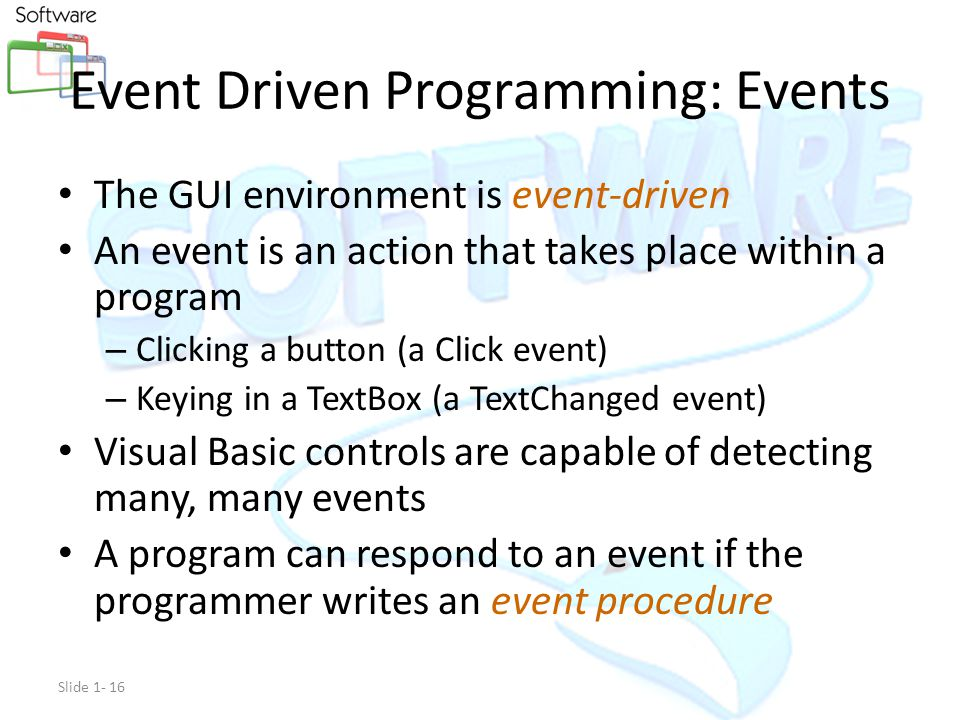 VISUAL BASIC GUI – (Graphical user interface )Graphical user interface IDE – (Integrated development environment)Integrated development environment EDP – (Event Driven Programming)Event Driven Programming