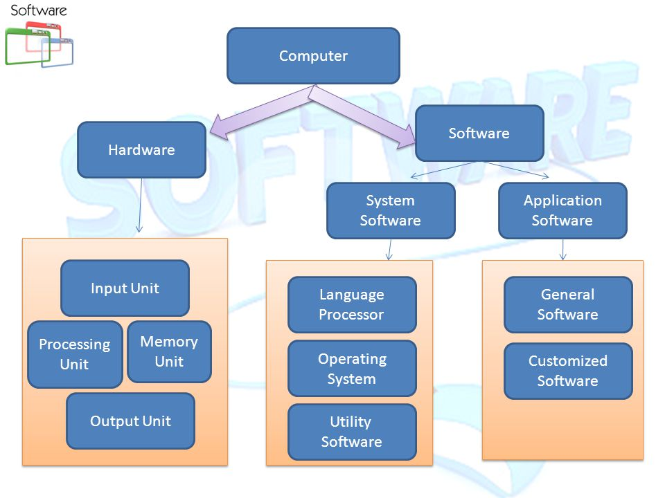 Software Application Software – Word Processors – Database s/w – Spreadsheets – Painting programs – Web browsers,  programs System Software – Operating Systems Windows Macintosh OS Unix Linux – Drivers Software is comprised of instructions that get a computer to perform a task.