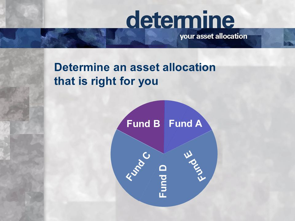 Determine an asset allocation that is right for you Fund A Fund B Fund D Fund E Fund C