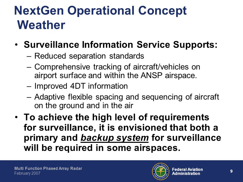 Multi Function Phased Array Radar 9 Federal Aviation Administration February 2007 NextGen Operational Concept Weather Surveillance Information Service Supports: –Reduced separation standards –Comprehensive tracking of aircraft/vehicles on airport surface and within the ANSP airspace.