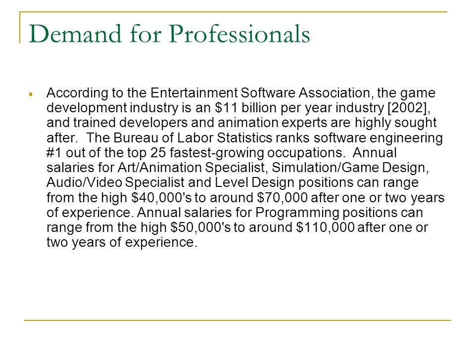 Demand for Professionals  According to the Entertainment Software Association, the game development industry is an $11 billion per year industry [2002], and trained developers and animation experts are highly sought after.