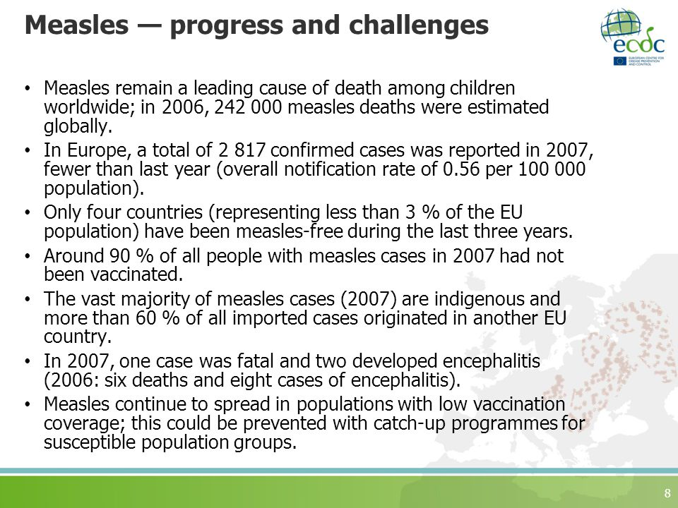 Measles — progress and challenges Measles remain a leading cause of death among children worldwide; in 2006, measles deaths were estimated globally.