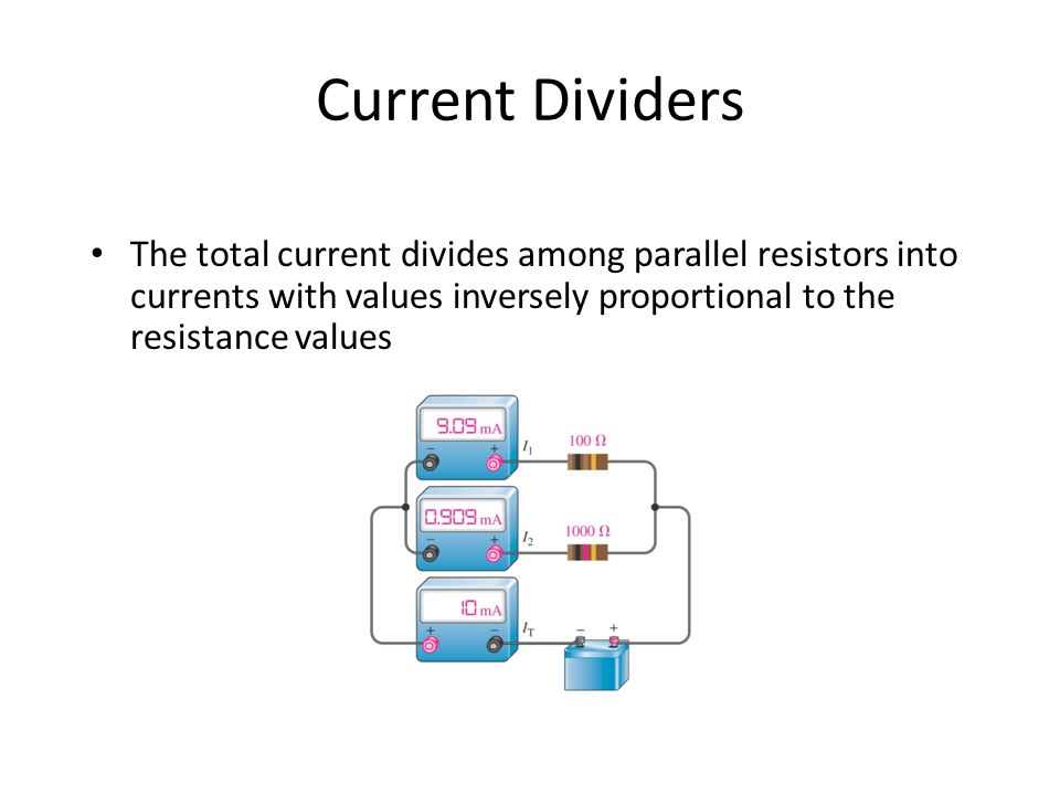 Current Dividers The total current divides among parallel resistors into currents with values inversely proportional to the resistance values