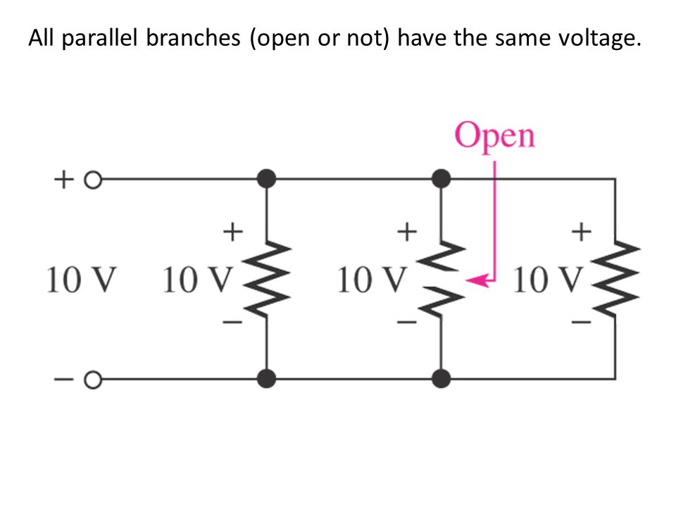 All parallel branches (open or not) have the same voltage.