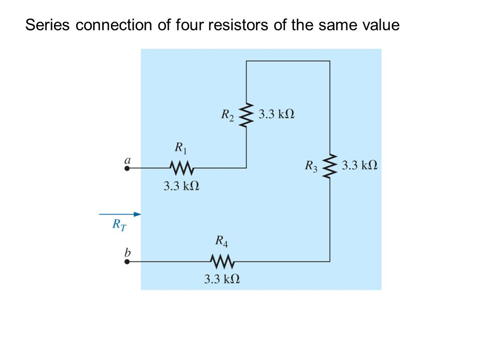 Series connection of four resistors of the same value