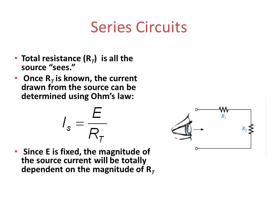 Series Circuits Total resistance (R T ) is all the source sees. Once R T is known, the current drawn from the source can be determined using Ohm's law: Since E is fixed, the magnitude of the source current will be totally dependent on the magnitude of R T
