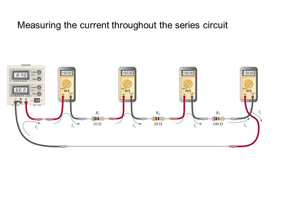 Measuring the current throughout the series circuit