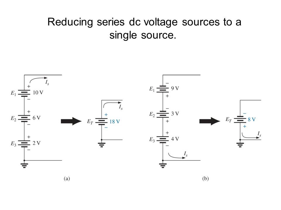 Reducing series dc voltage sources to a single source.