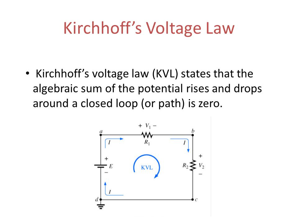 Kirchhoff's Voltage Law Kirchhoff's voltage law (KVL) states that the algebraic sum of the potential rises and drops around a closed loop (or path) is zero.