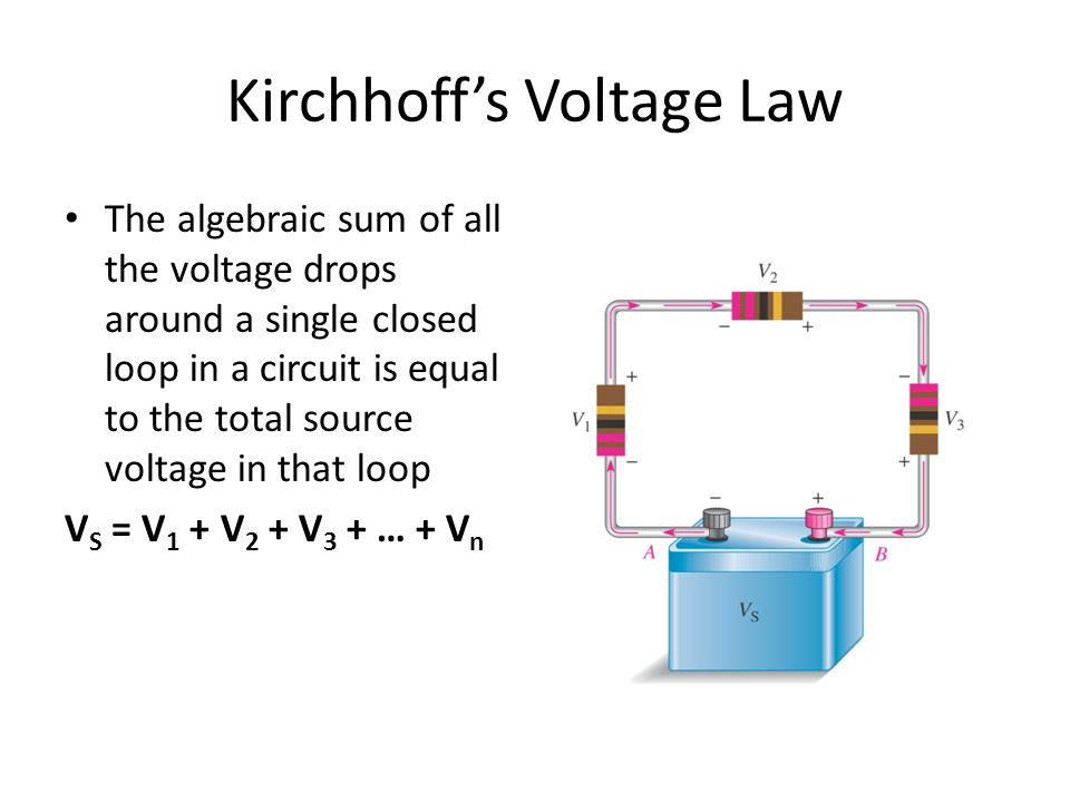 Kirchhoff's Voltage Law The algebraic sum of all the voltage drops around a single closed loop in a circuit is equal to the total source voltage in that loop V S = V 1 + V 2 + V 3 + … + V n