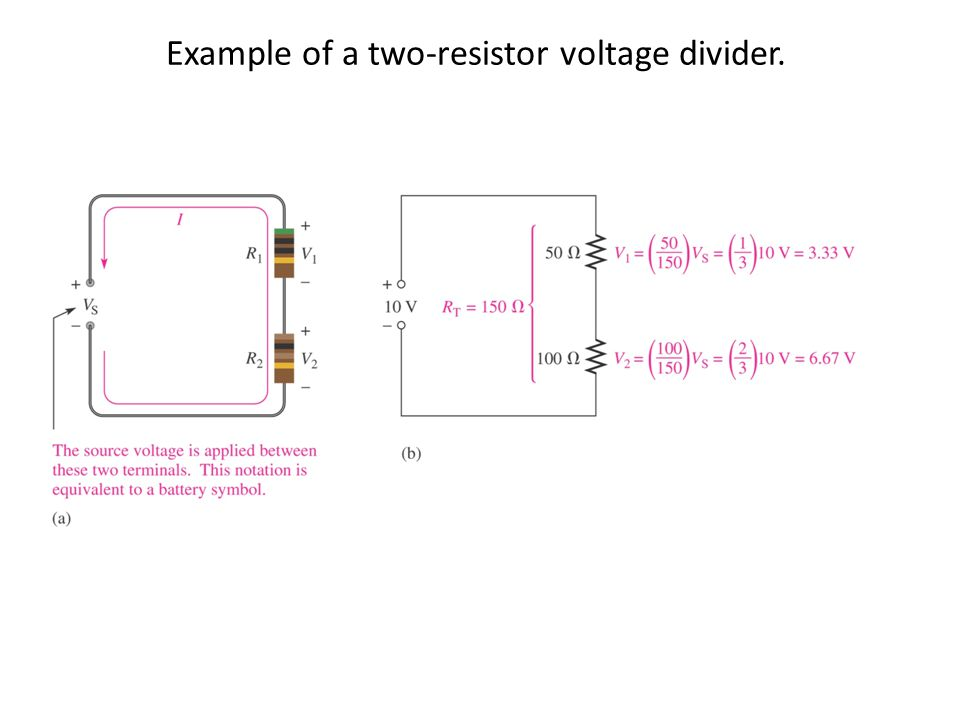 Example of a two-resistor voltage divider.