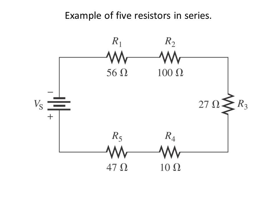 Example of five resistors in series.