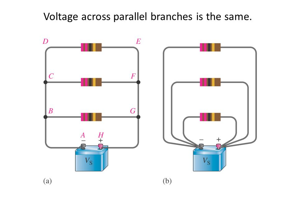 Voltage across parallel branches is the same.