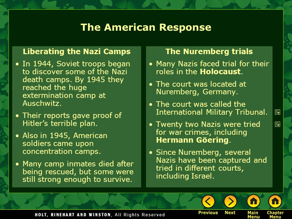 The American Response Liberating the Nazi Camps In 1944, Soviet troops began to discover some of the Nazi death camps.