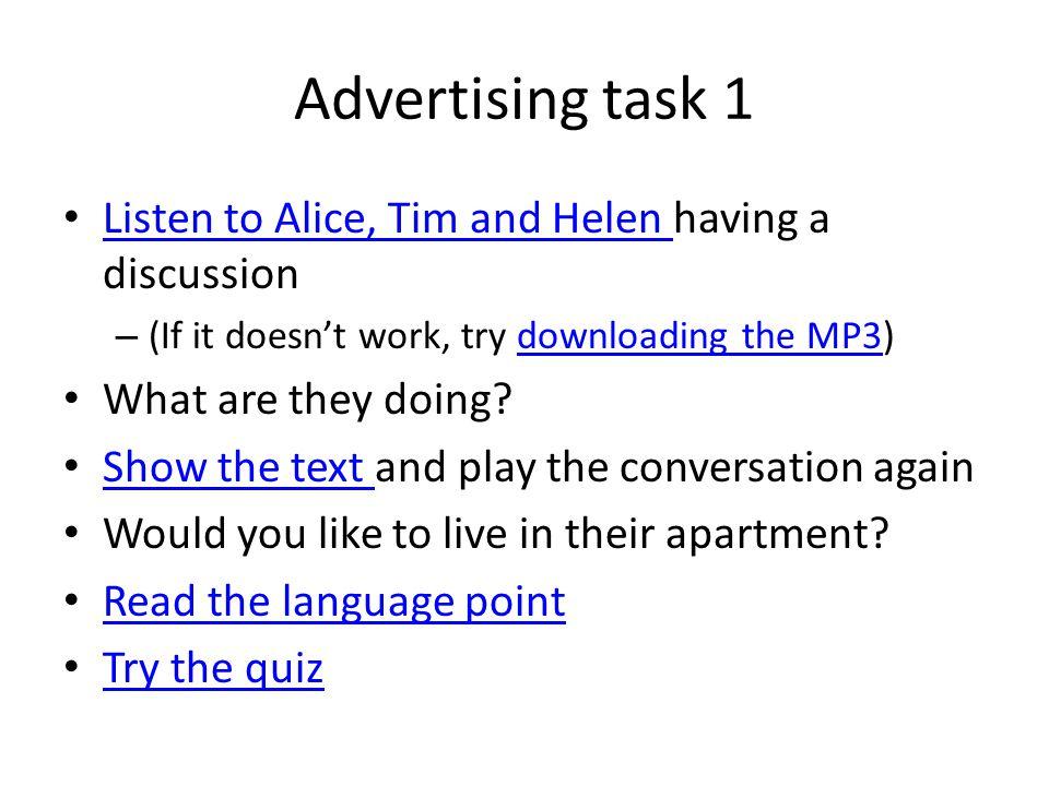 Ce1 lab 1 listening skills; advertising. Lab instructions open.