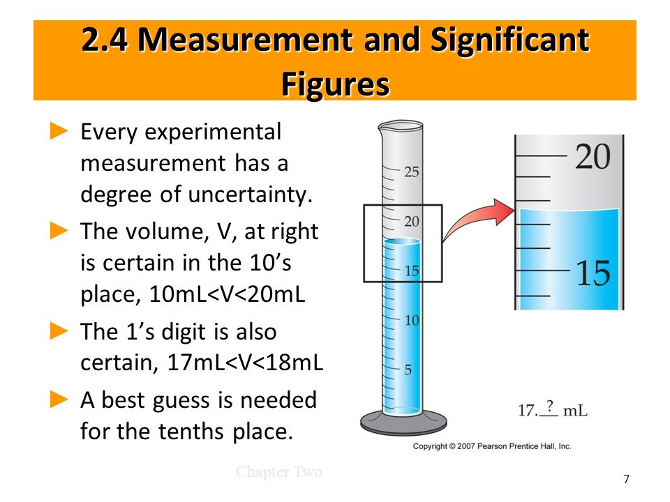 2.4 Measurement and Significant Figures ► ► Every experimental measurement has a degree of uncertainty.